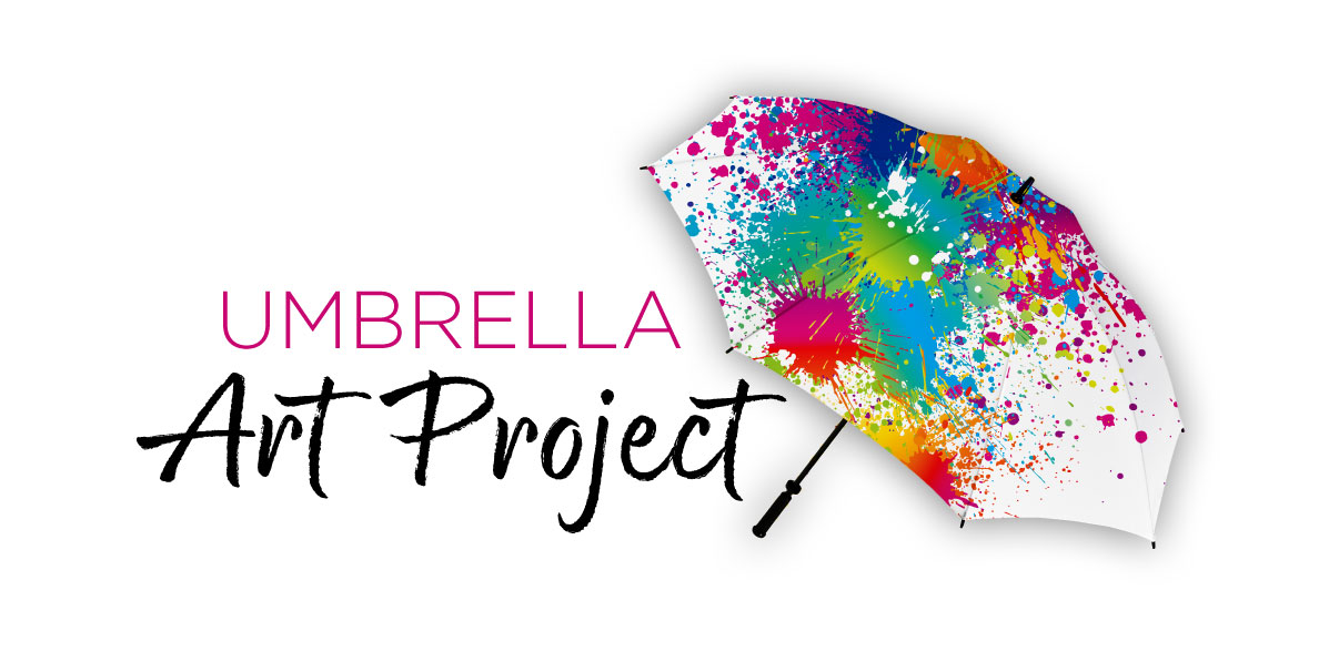 logo with splatter paint umbrella and text that reads umbrella art project