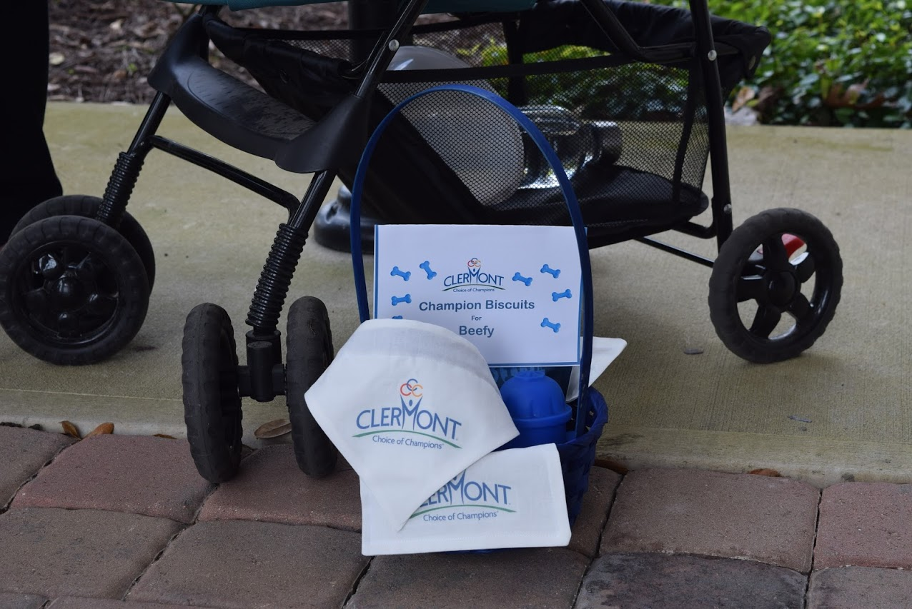 A basket of treats and gifts with the City of Clermont logo are seen on the floor by Beefy's stroller.