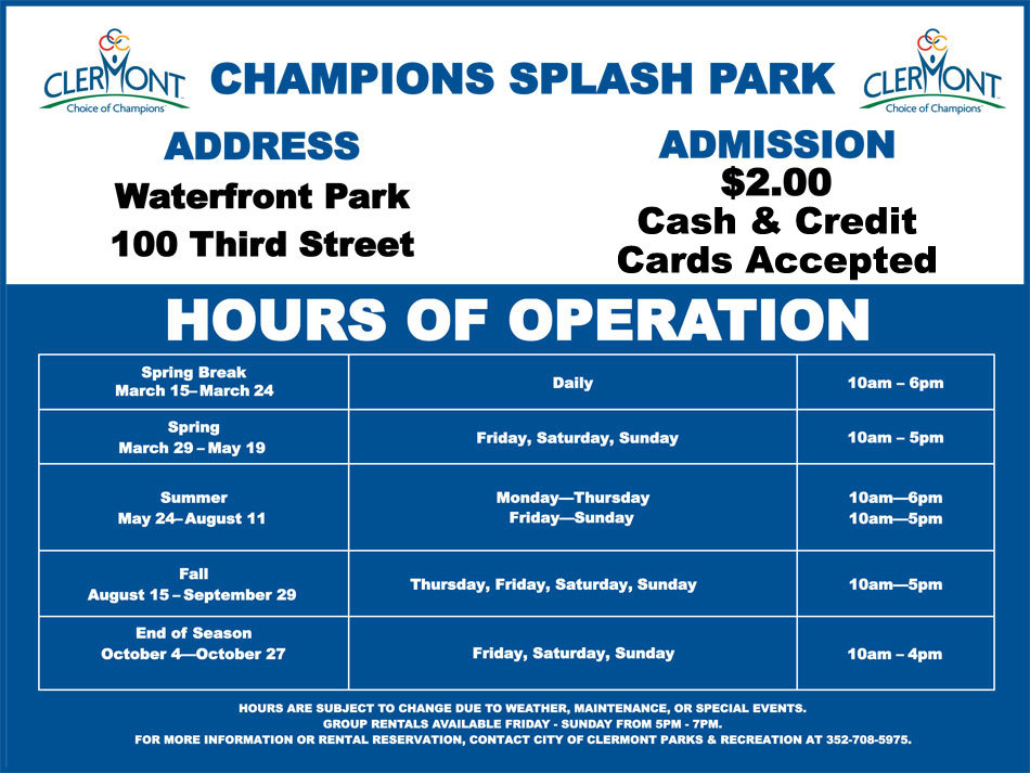 Splash Pad Hours of Operation