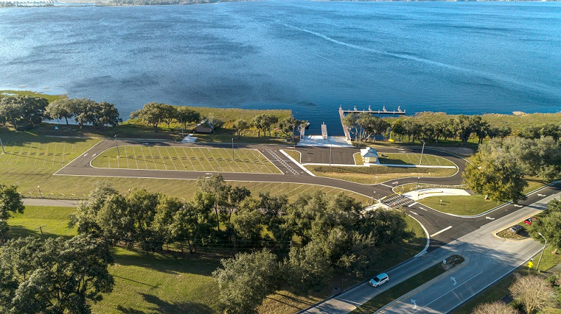aerial view of the new clermont boat ramp