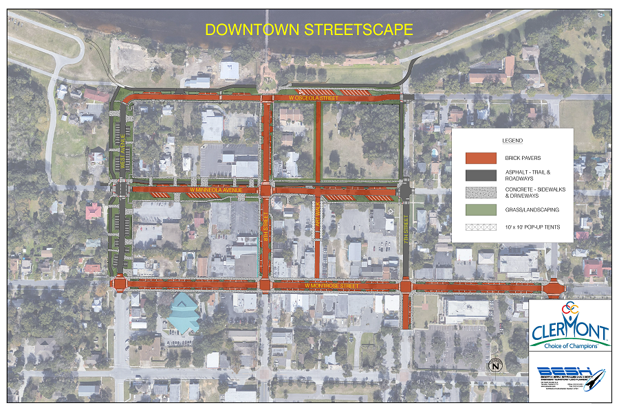 downtown streetscapes project rendering, aerial view of downtown clermont with brick and asphalt road plans shown