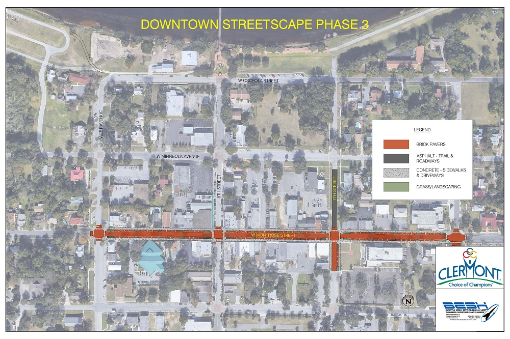 phase 3 aerial rendering of streetscape plan, showing brick paving on montrose street and asphalt on 7th street downtown