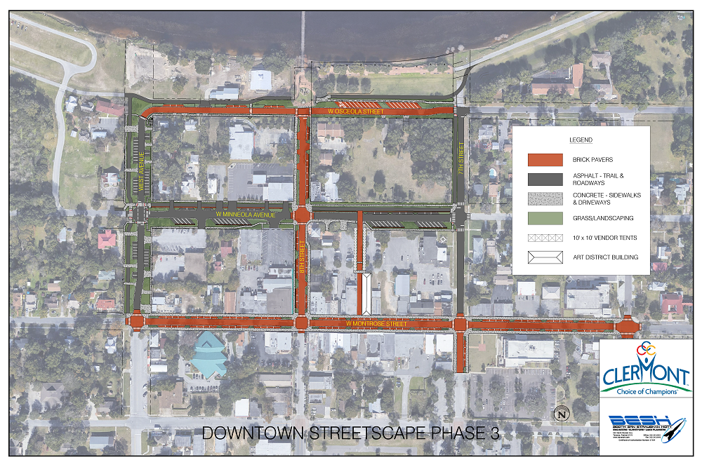 Phase 3 streetscape map rendering of Clermont Downtown Master Plan