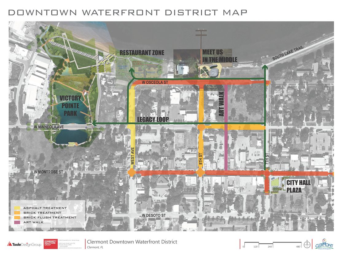 Downtown Waterfront District Map with Art Walk
