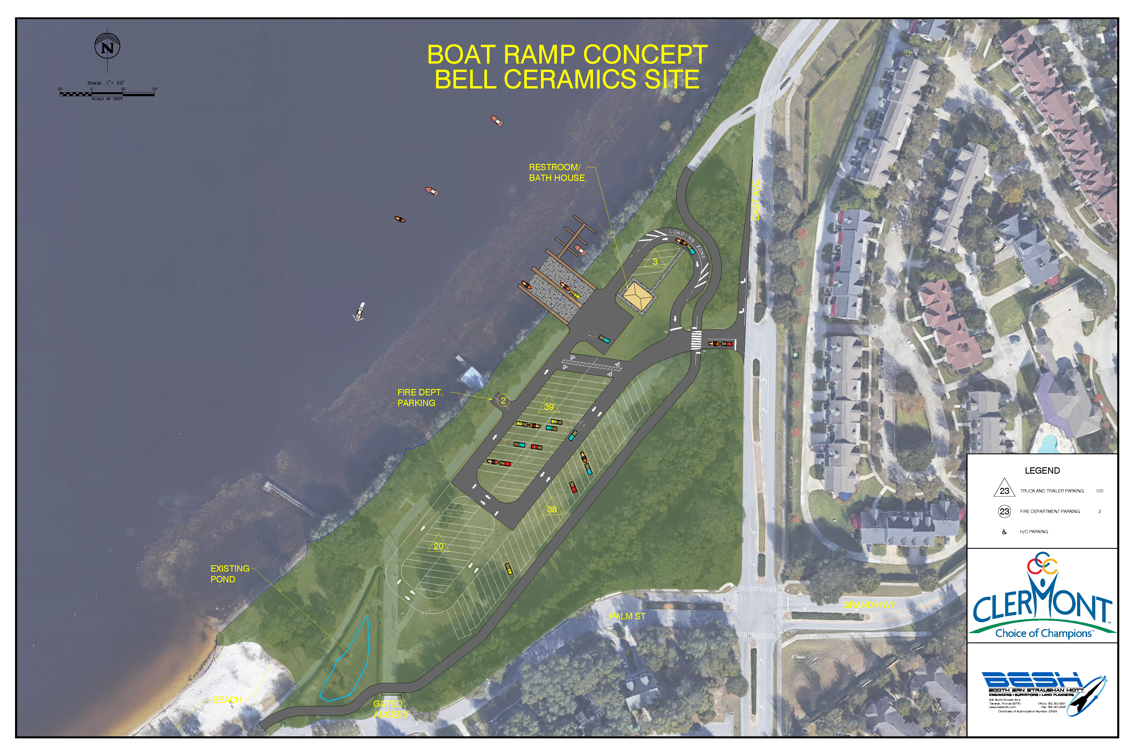 Boat Ramp Concept on Bell Ceramics Site showing parking spots, slips, rerouted trail