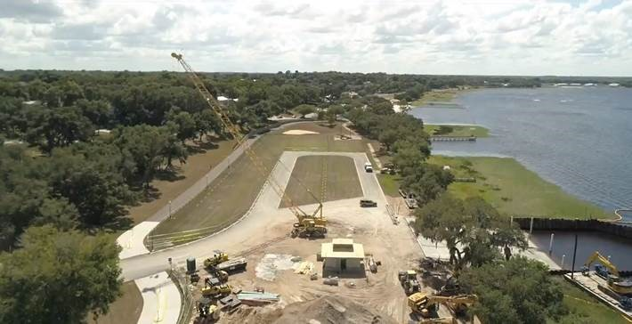 Aerial photo of boat ramp construction