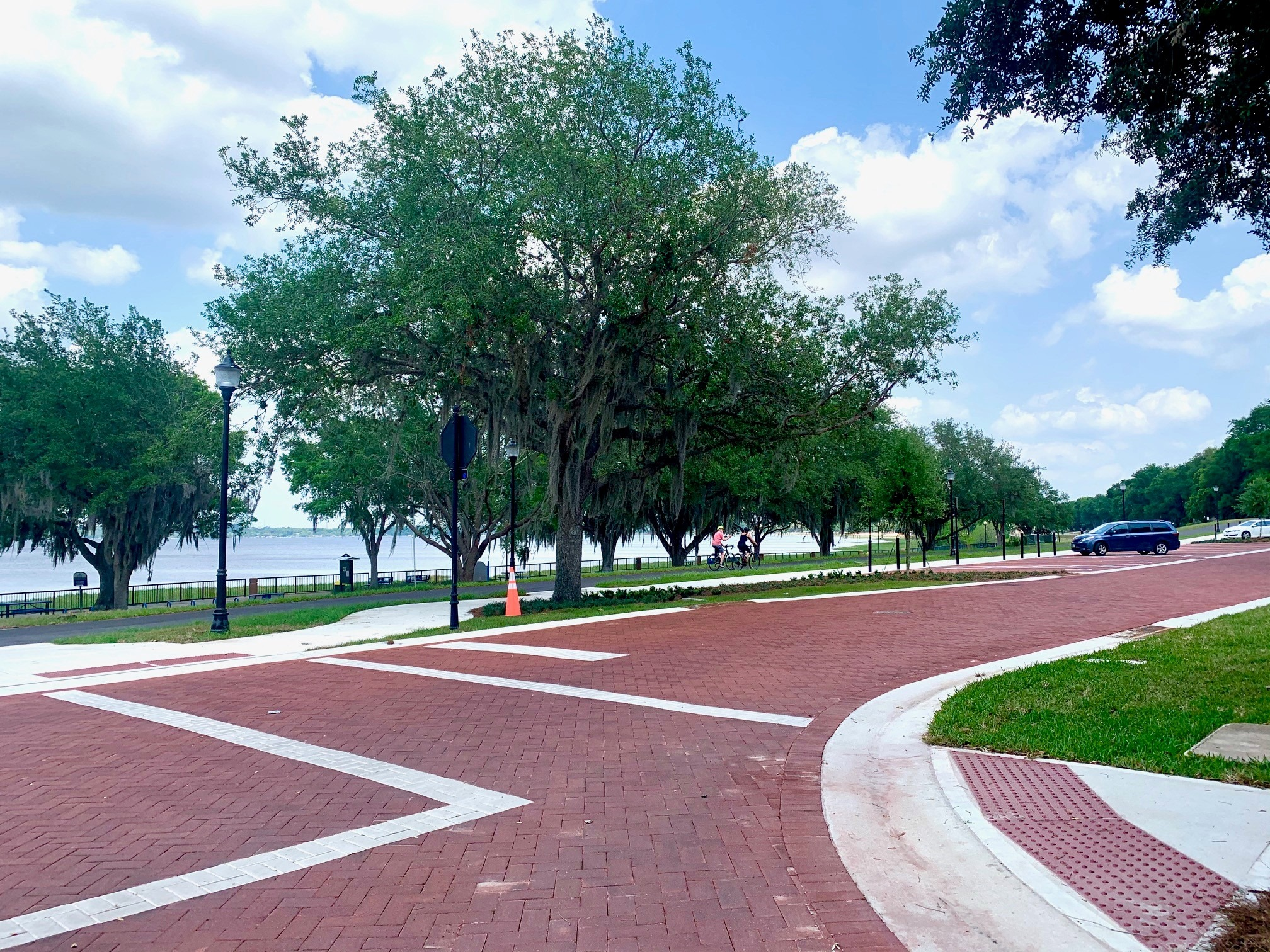 completed Osceola Street brick pavement showing parking and waterfront